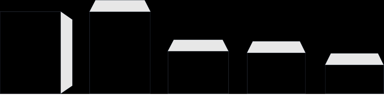 V.l.n.r. C4 (klep aan lange zijde), C4 (klep aan korte zijde), C5, EA5, EA5/6